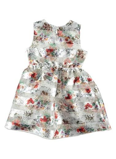 Çiçekli Organze Elbise-Asymmetry